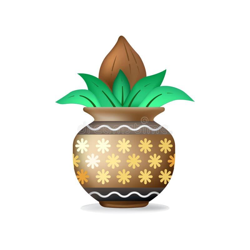 Vector Kalash con la hoja del mango stock de ilustración