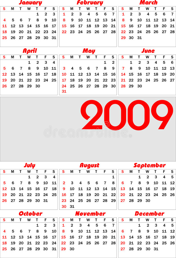 Vector kalender 2009 vector illustratie