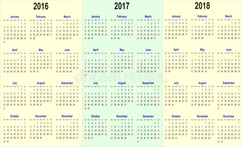 Vector Kalenderschablone - 2016, 2017, 2018 stock abbildung
