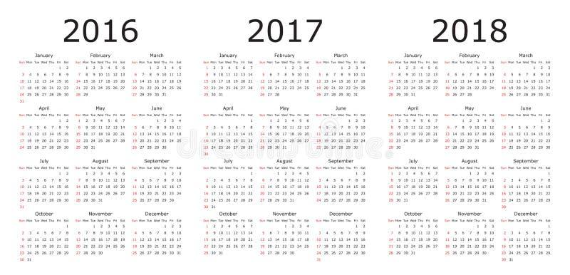 Vector Kalenderschablonen 2016, 2017, 2018 vektor abbildung
