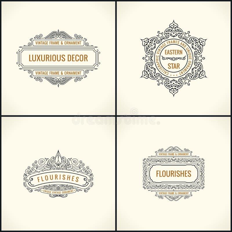 Vector kalligrafische ontwerpelementen De wijnoogst bloeit Retro geplaatst embleem en kaders royalty-vrije illustratie