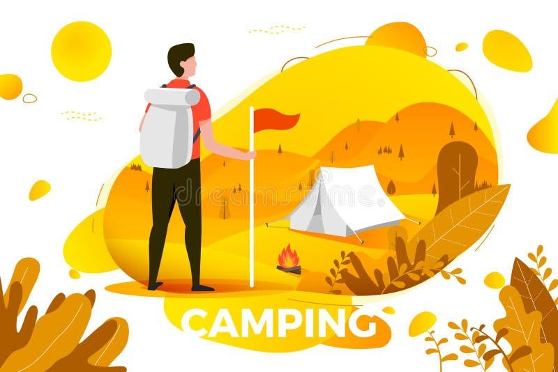Vector kamperende mens die met rugzak op tent kijken vector illustratie