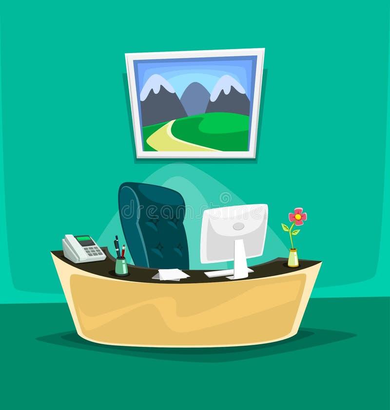 Vector Karikatur lokalisierte Schreibtischinnenchefstuhltelefonstiftpapiercomputer-Blumenmalerei lizenzfreie abbildung