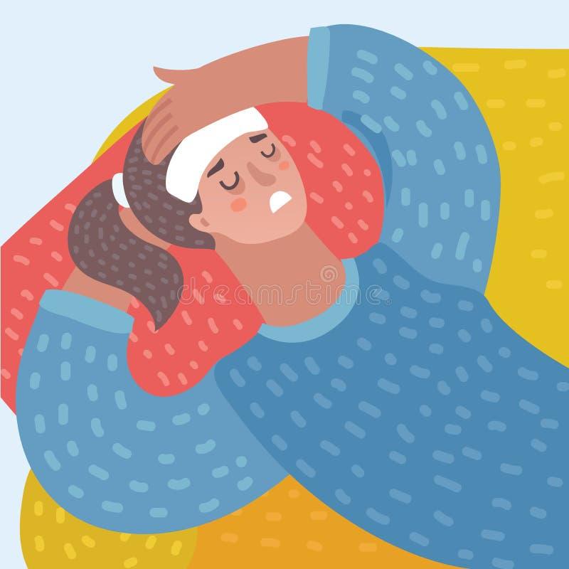 Vector Karikatur Lustration der jungen Frau liegend mit Kopfschmerzen lizenzfreie abbildung