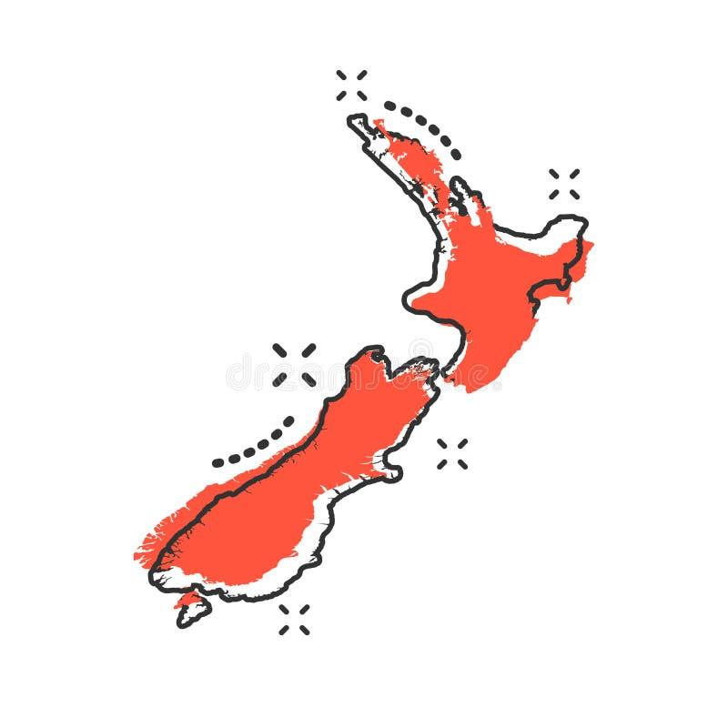 Vector Karikatur Neuseeland-Kartenikone in der komischen Art Irgendwo in Neuseeland vektor abbildung
