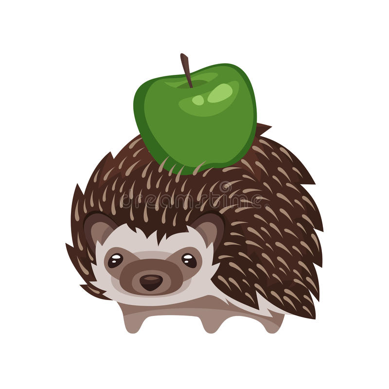 Vector Karikaturartillustration des Igelen mit grünem Apfel stock abbildung