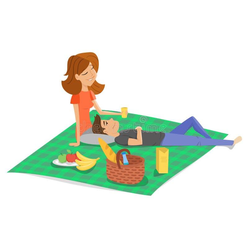 Vector Karikaturartillustration des jungen glücklichen Paars, das Picknick hat stock abbildung