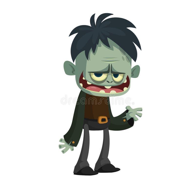 Vector Karikaturbild eines lustigen grünen ZombieAnzugs, der auf einem hellgrauen Hintergrund lokalisiert wird Glückliches Hallow lizenzfreie abbildung