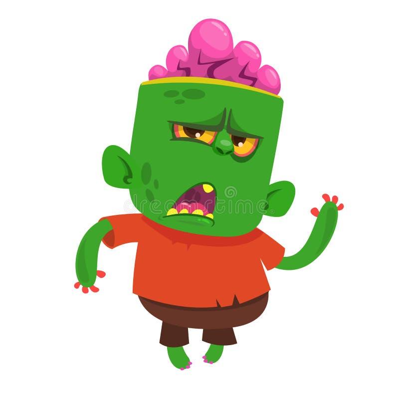 Vector Karikaturbild eines lustigen grünen Zombies mit Großkopf in den braunen Hosen und in rotem T-Shirt Gehen vektor abbildung