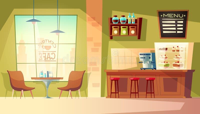 Vector Karikaturcaféhintergrund, Cafeteriainnenraum, Möbel vektor abbildung
