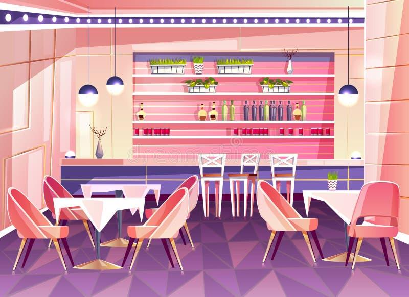 Vector Karikaturcaféhintergrund, Cafeteriainnenraum, Möbel stock abbildung
