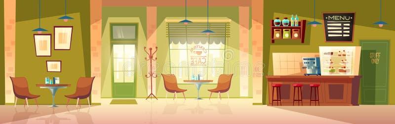 Vector Karikaturcaféhintergrund, Cafeteriainnenraum, Raum lizenzfreie abbildung