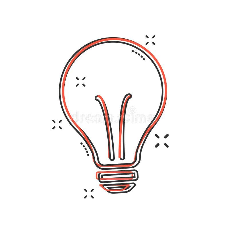 Vector Karikaturhalogen-Glühlampenikone in der komischen Art Ideenkonzept, vektorabbildung lizenzfreie abbildung