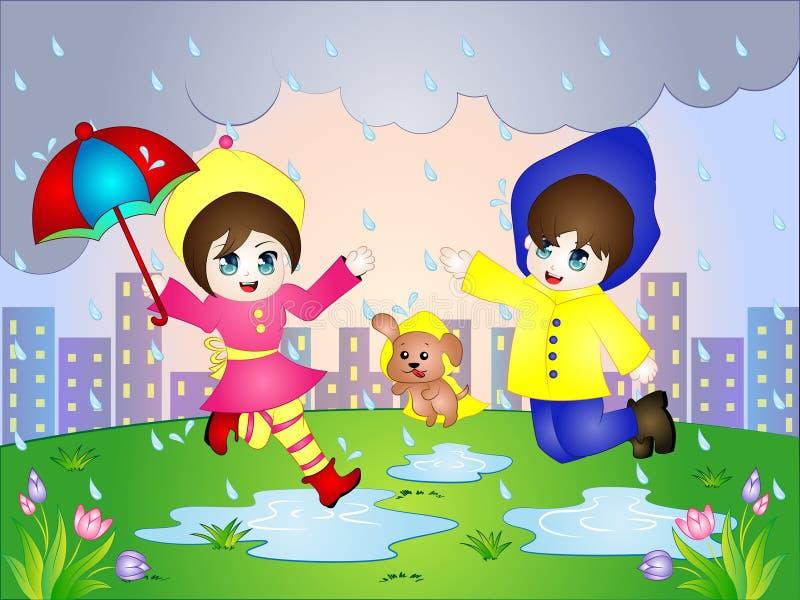 Vector Karikaturillustration des regnerischen Tages mit einem Jungen, einem Mädchen und einem Welpen vektor abbildung