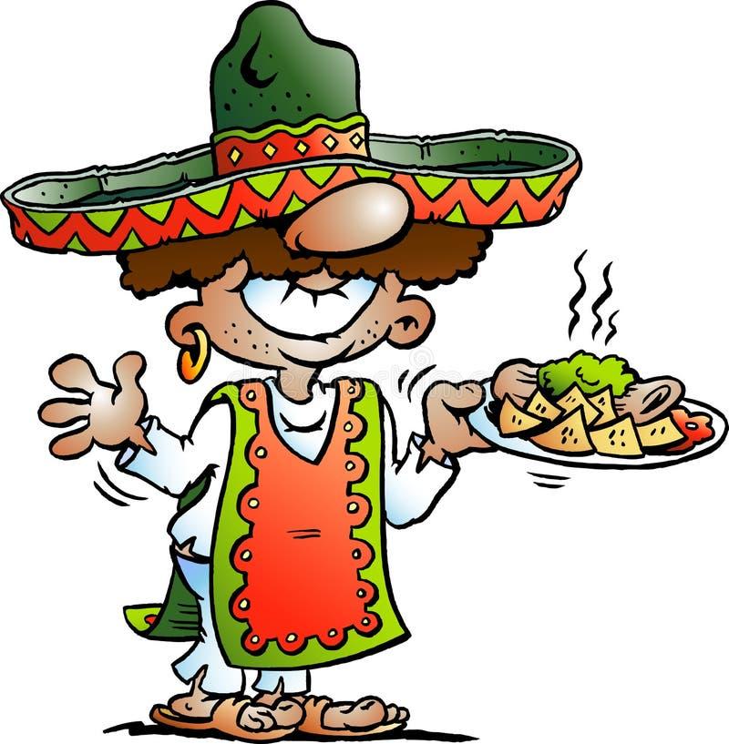 Vector Karikaturillustration einer glücklichen mexikanischen Stellung mit etwas Tarco-Lebensmittel lizenzfreie abbildung