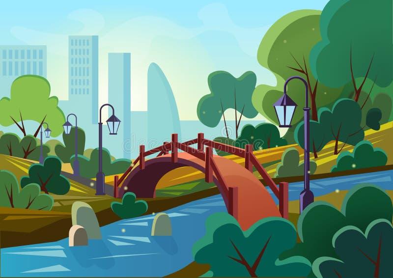 Vector Karikaturillustration eines allgemeinen Stadtparks des schönen Sommers mit Brücke und des Flusses am Sonnenaufgangmorgen s lizenzfreie abbildung