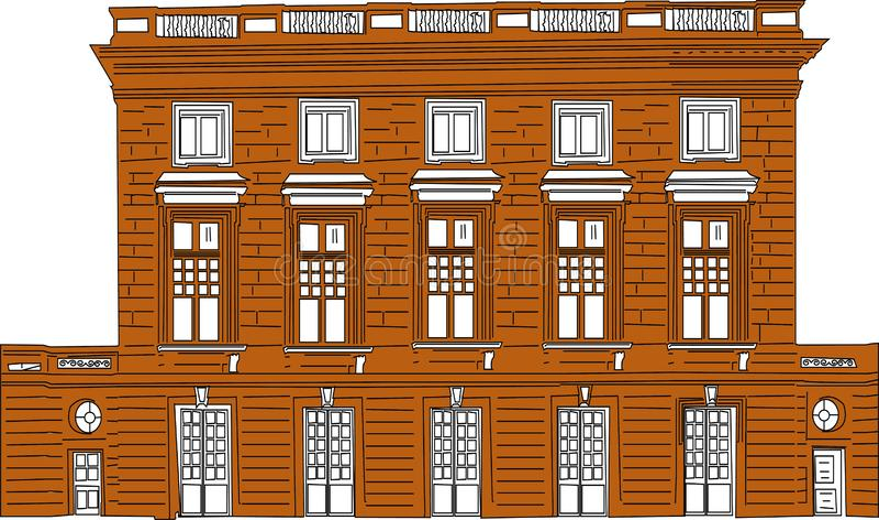 Vector Karikaturillustration von einer Stadtlandschaft mit großen modernen Gebäuden r stock abbildung