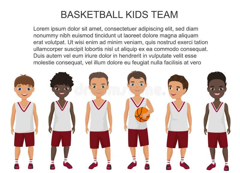 Vector Karikaturschulbasketballkinder team in der lokalisierten Uniform lizenzfreie abbildung