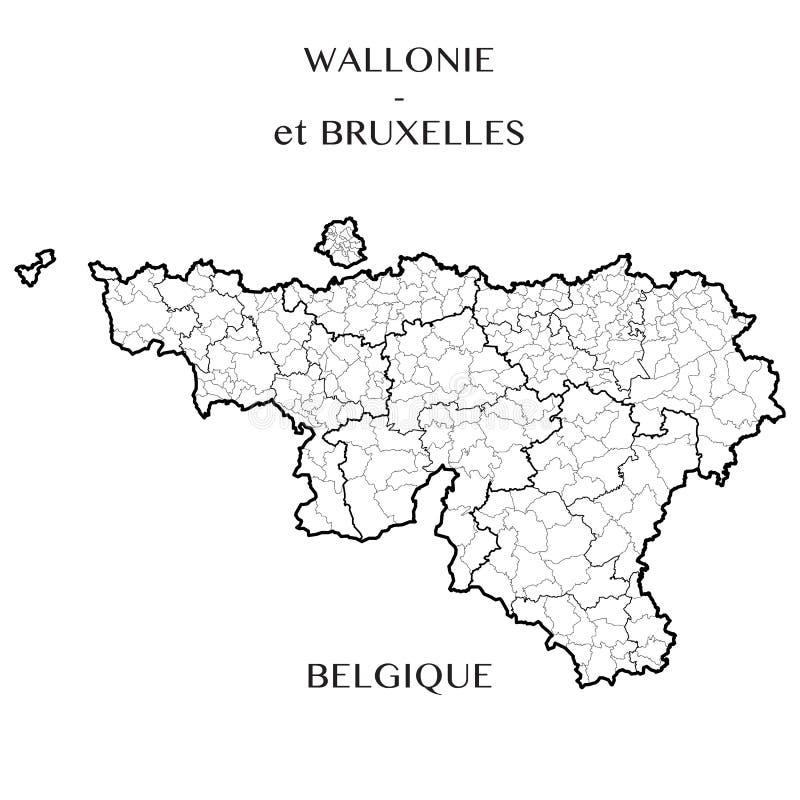 Vector Karte der Regionen Wallonien- und Brüssel-Kapitals, Belgien lizenzfreie abbildung
