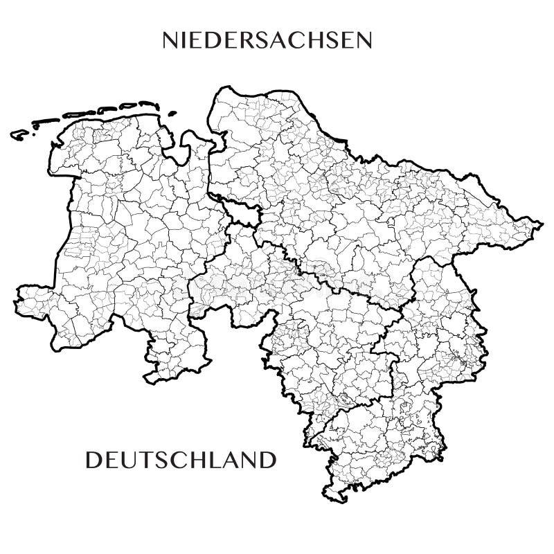 Vector Karte des Bundeslands von Niedersachsen, Deutschland lizenzfreie abbildung