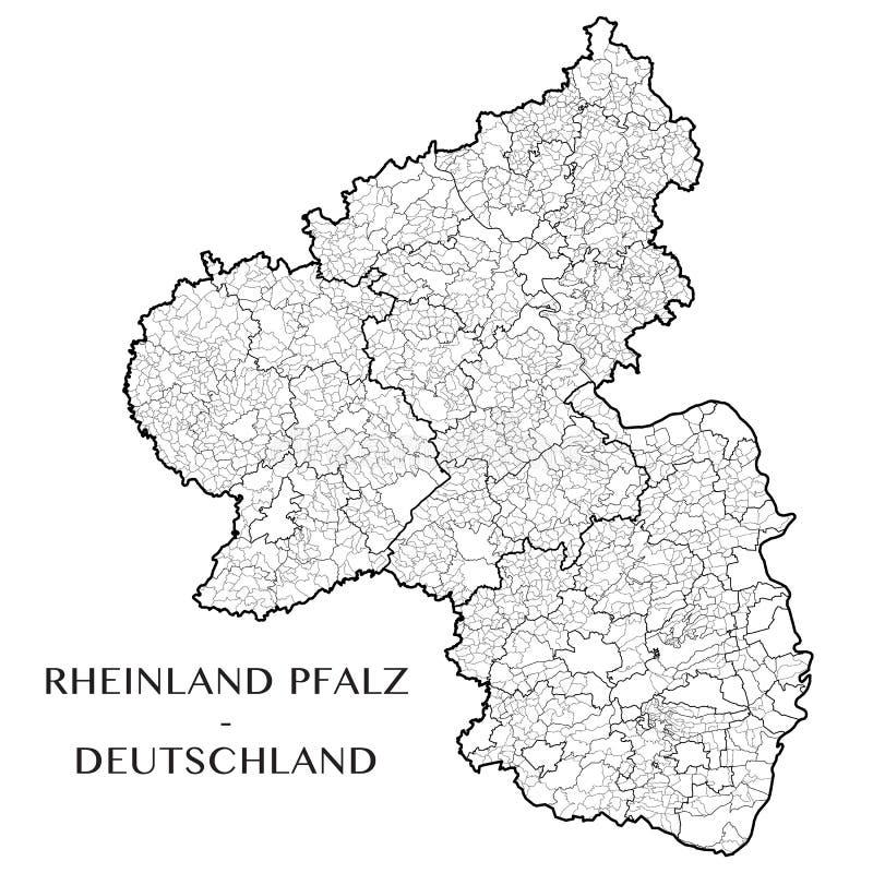 Vector Karte des Staates von Rheinland Pfalz, Deutschland vektor abbildung