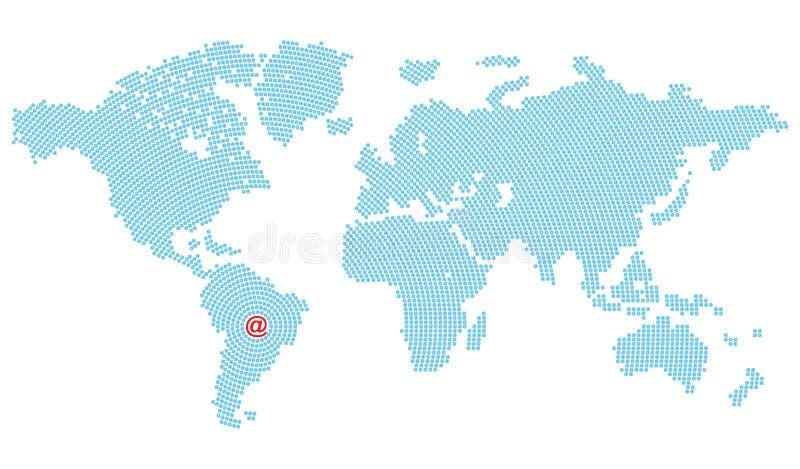 Vector Karte des Weltbestehenden blauen E-Mail-Symbols, das in den Kreisen vereinbart wird, die auf Südamerika zusammenlaufen, in vektor abbildung