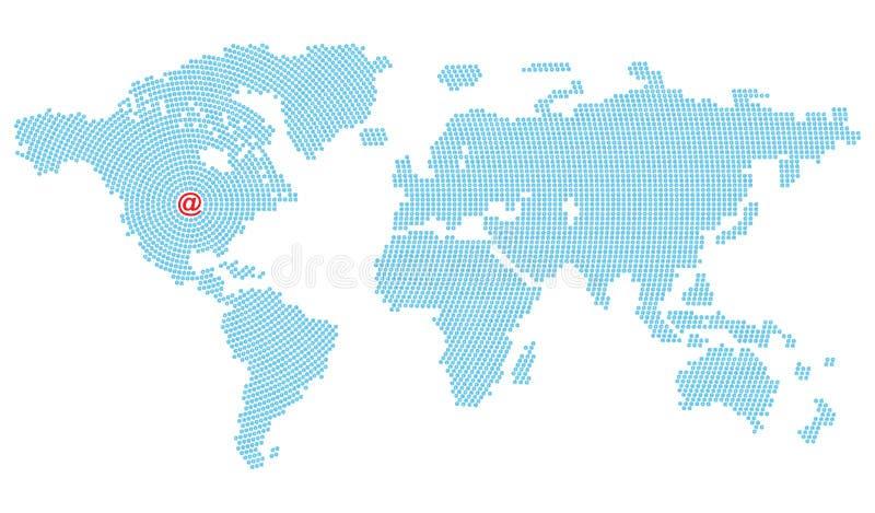 Vector Karte des Weltbestehenden blauen E-Mail-Symbols, das in den Kreisen vereinbart wird, die in Nordamerika zusammenlaufen, in stock abbildung
