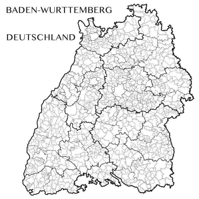 Vector Karte des Zustandes von Baden-Wurttemberg, Deutschland stock abbildung