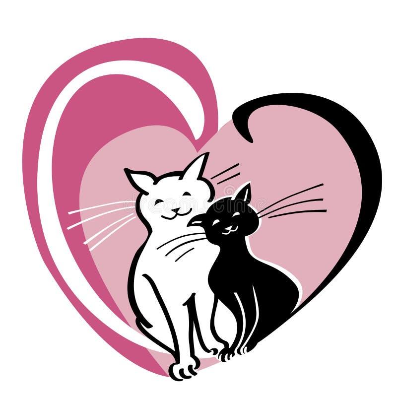 Vector Karte mit Konzept des Valentinsgrußes s Tages, zwei Katzen im Herzen lizenzfreie abbildung