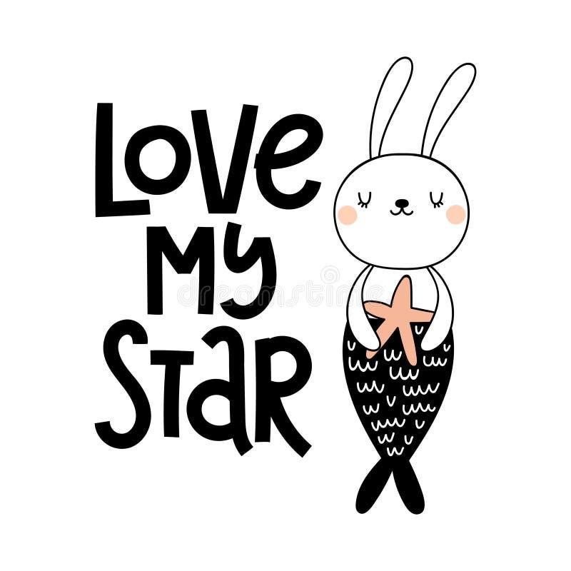 Vector Karte mit netter Häschenmeerjungfrau auf weißer Hintergrund und Text Liebe mein Stern lizenzfreie abbildung