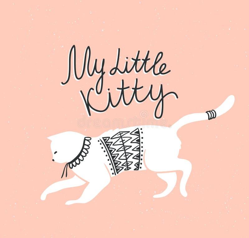 Vector Karte mit netter weißer Katze und stilvoller Beschriftung 'meine kleine Miezekatze' lizenzfreie abbildung