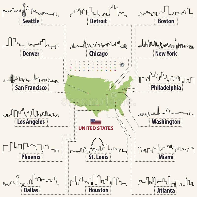 Vector Karte von den Vereinigten Staaten von Amerika mit größte Städte ` Skylineentwürfen lizenzfreie abbildung
