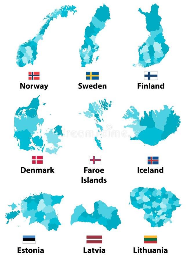 Vector Karten und Flaggen von Europa-Ländern mit Verwaltungsabteilungs-Regionsgrenzen stock abbildung