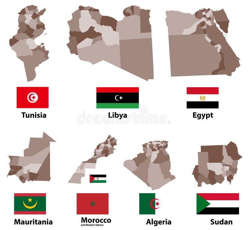 Vector Karten und Flaggen von Nord-Afrika-Ländern mit Verwaltungsabteilungs-Regionsgrenzen vektor abbildung