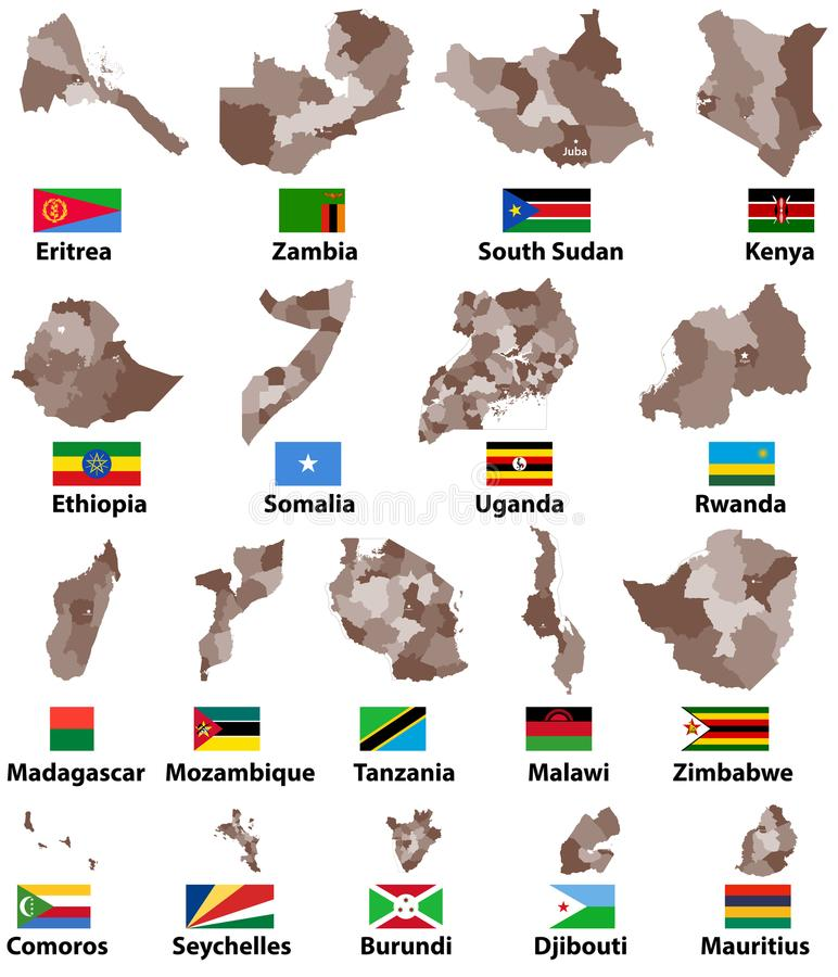 Vector Karten und Flaggen von Ost-Afrika-Ländern mit Verwaltungsabteilungs-Regionsgrenzen stock abbildung