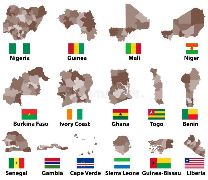 Vector Karten und Flaggen von West-Afrika-Ländern mit Verwaltungsabteilungs-Regionsgrenzen vektor abbildung
