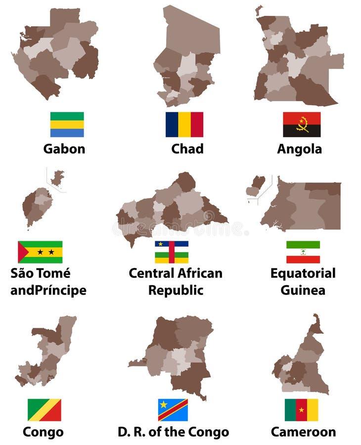 Vector Karten und Flaggen von Zentralafrika-Ländern mit Verwaltungsabteilungs-Regionsgrenzen vektor abbildung
