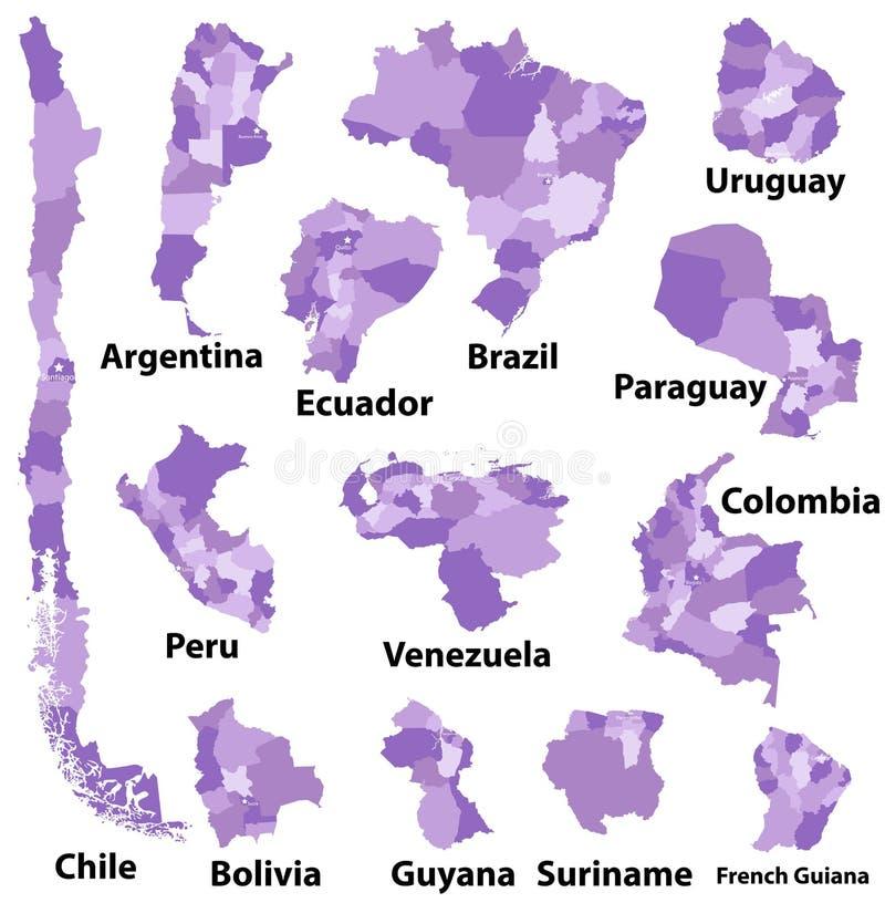 Vector Karten von Südamerika-Ländern mit Verwaltungsabteilungs-Regionsgrenzen vektor abbildung