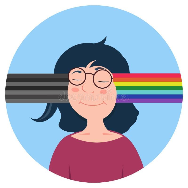 Vector kaukasische Frau der Karikatur mit unterschiedlicher Art des Verstandes Ändern Sie schlechte Nachrichten oder Gedanken zum vektor abbildung