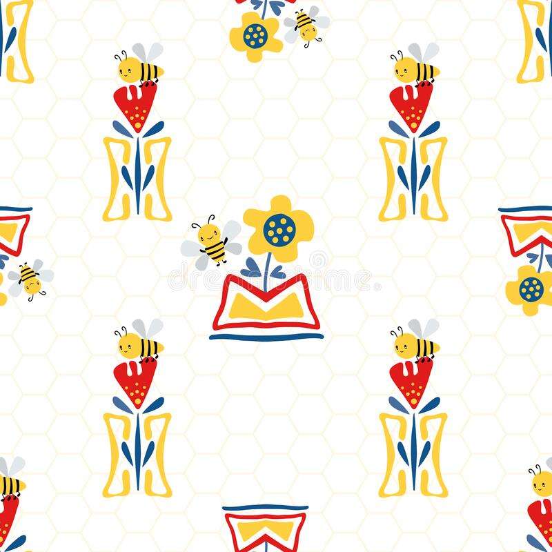 Vector Kawaii honey bee with sunflower, tulips in aztec motif flower pots on honeycomb background. Seamless pattern. Cute bugs and floral backdrop. Fun all royalty free illustration