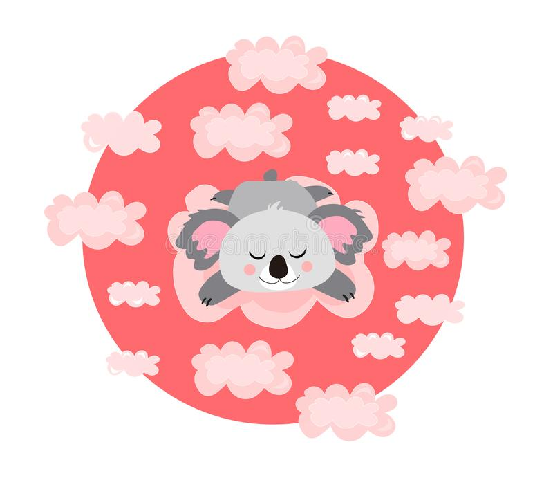 Vector kawaii illustration,print. Sleeping, dreaming or relaxing cute koala in the pink clouds. Nice poster. royalty free illustration