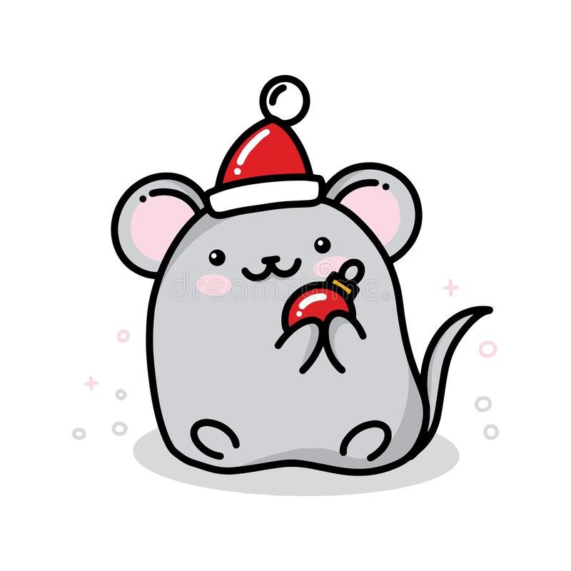 Vector kawaii new year mouse with red hat and christmas ball, cure mascot of 2020 new year by Chinese calendar for stock illustration