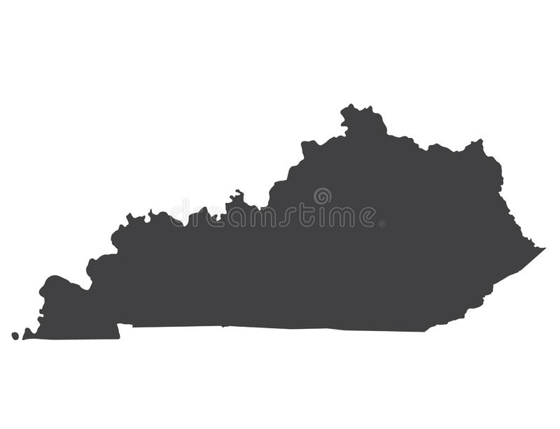 Vector Kentucky Map silhouette royalty free stock photography