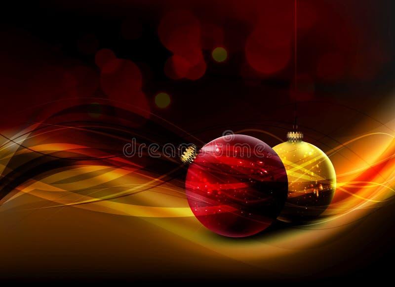 Vector Kerstkaart | Glanzende Gouden Decoratie vector illustratie