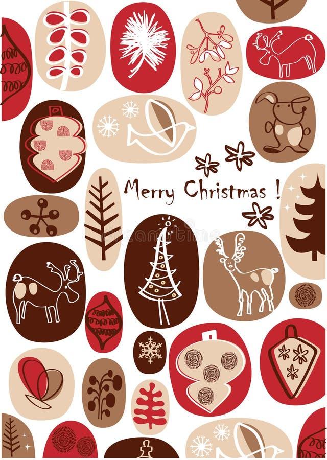 Vector - Kerstkaart met aardige handtekeningen stock illustratie