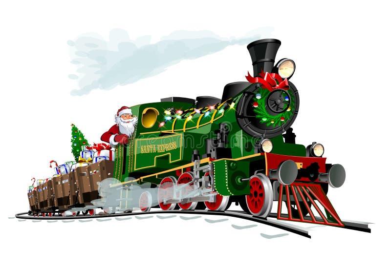 Vector kerstkaart met tekenfilm Santa Express royalty-vrije illustratie