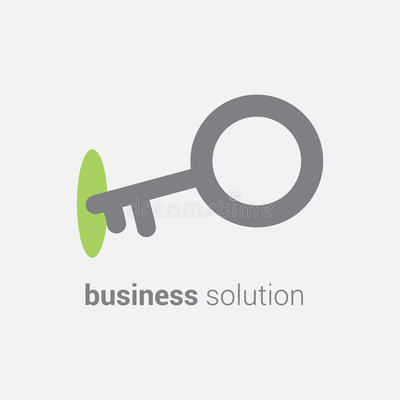 Vector key icon in lock depicting business solution. Interaction leads to best results and progress in business vector illustration