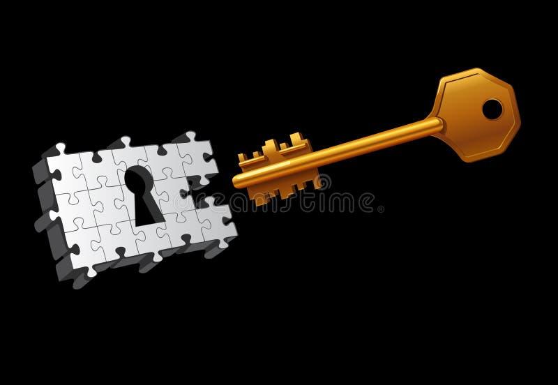 Vector Key Moving To Unlock Stock Photo