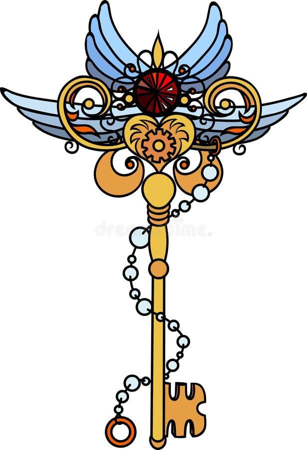 key in steampunk style. Fantastic gears. royalty free illustration