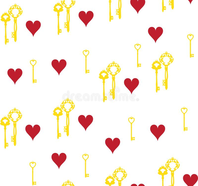 Vector Keys and Hearts Seamless Background. royalty free illustration